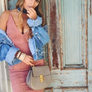 LF Pink Suede Bodycon Dress